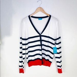 NEW Cielo Button Up White Red Blue Varsity Sweatee